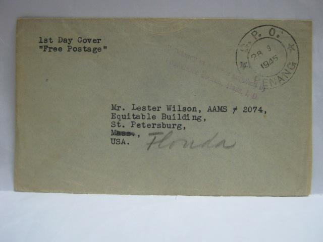 19450928 Penang Free Postage