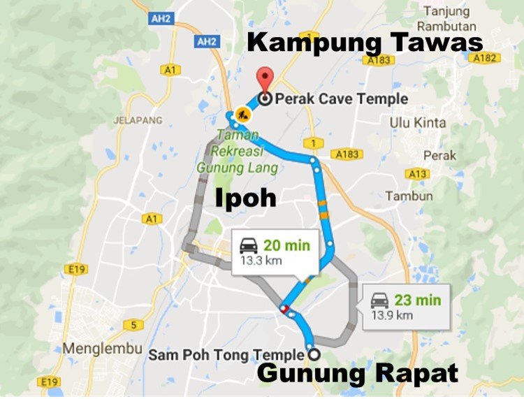 Image result for cave temple map in ipoh