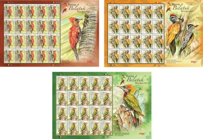 Woodpecker stamps sheetlets