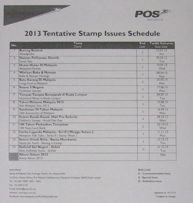 Pos Malaysia 2013 stamp issues programme