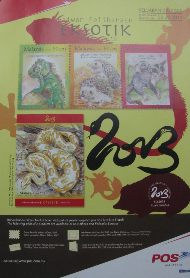 Year of the Snake Exotic Pets stamps miniature sheets poster image