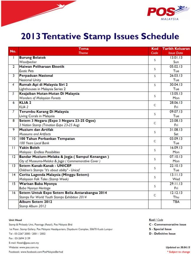 2013 04 30 Issues Schedule Pos Malaysia