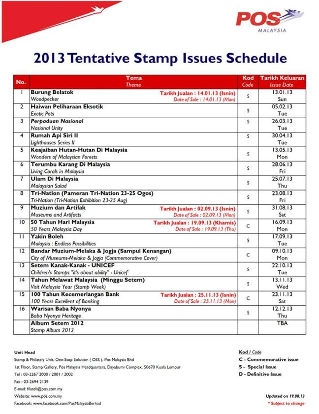 Pos Malaysia Stamp Issue Programme 2013