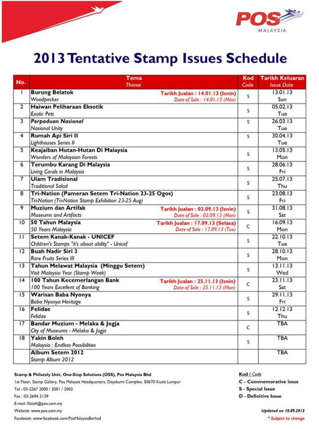 September 2013 Update Pos Malaysia Stamp Issue Programme
