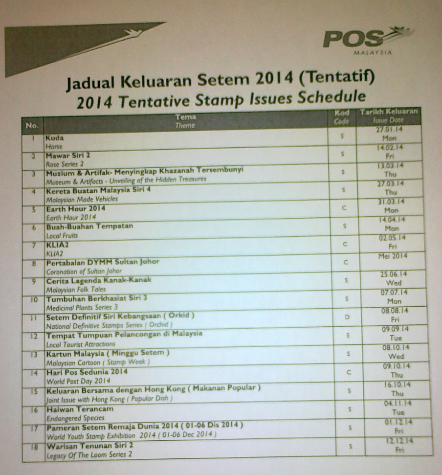 Hot off the printer: 2014 Malaysia Stamp Issue Schedule / Programme