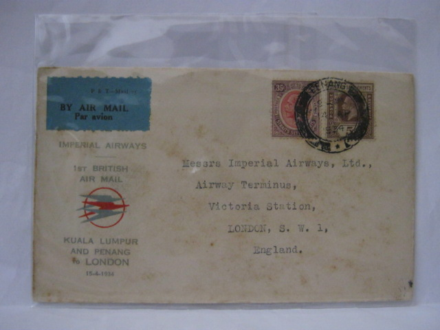 19340414 Imperial Airways Penang - London