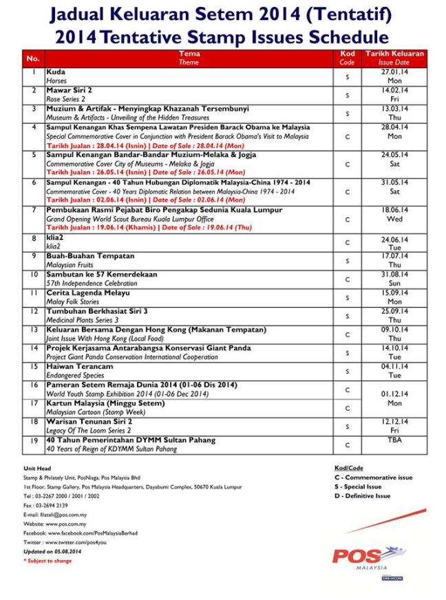 Malaysia Stamp Programme August 2014 revision