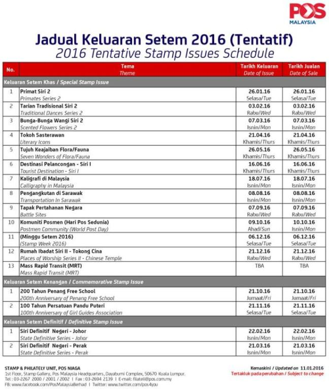 Malaysia Stamp Schedule 2016 revised 20160111