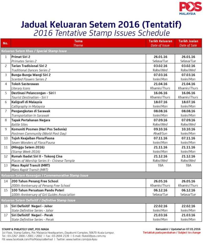 Malaysia Stamps Issue Schedule Programme 2016