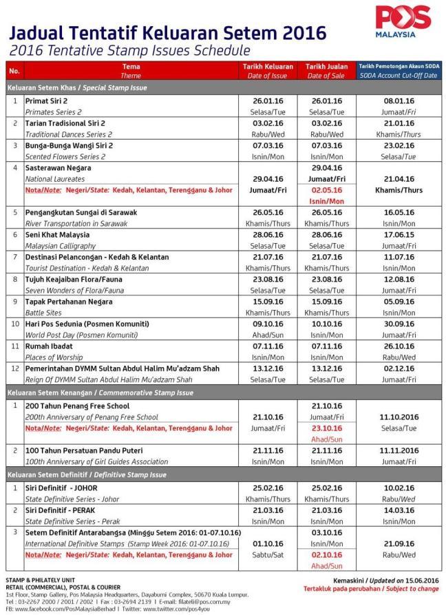 Malaysia Stamp Schedule June 2016