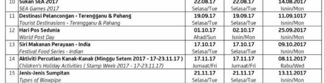 27 December 2016 Revised Malaysia Stamp Schedule 2017