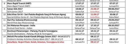 23 August 2017: Updated Malaysia StampSchedule
