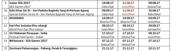 14 September 2017: Updated Malaysia Stamp IssueSchedule