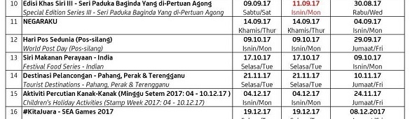 09 October 2017: Updated Malaysia Stamp Issue Schedule