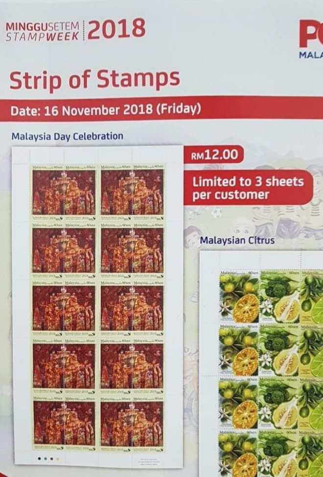 News Flash: Limit of 3 sheets per person for Malaysia Day Setenant Strip Sheet