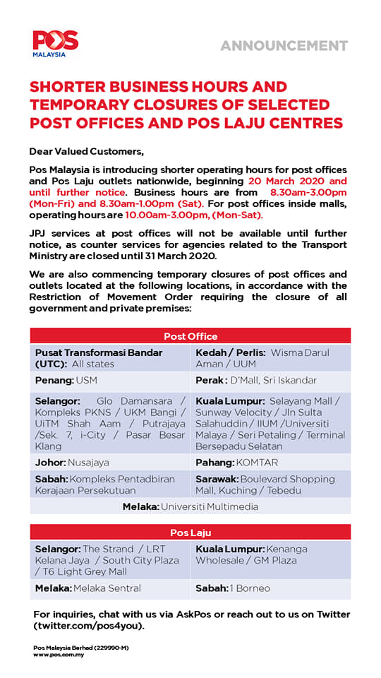 20 March 2020 Pos Malaysia Reduces The Service Hours Myfdc