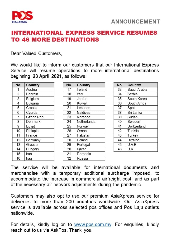 20210421 Additional International Express Service to 46 more destinations