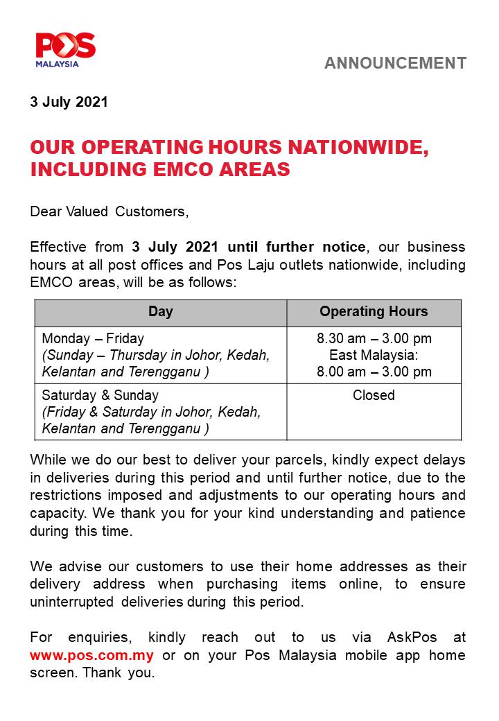 20210703 Pos Malaysia Operating Hours EMCO
