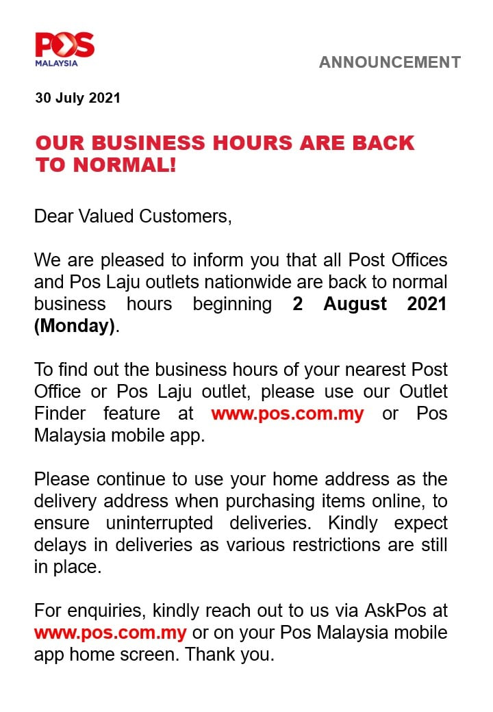 20210730 Pos Malaysia Business Hours Normal from 02 August 2021 Memo